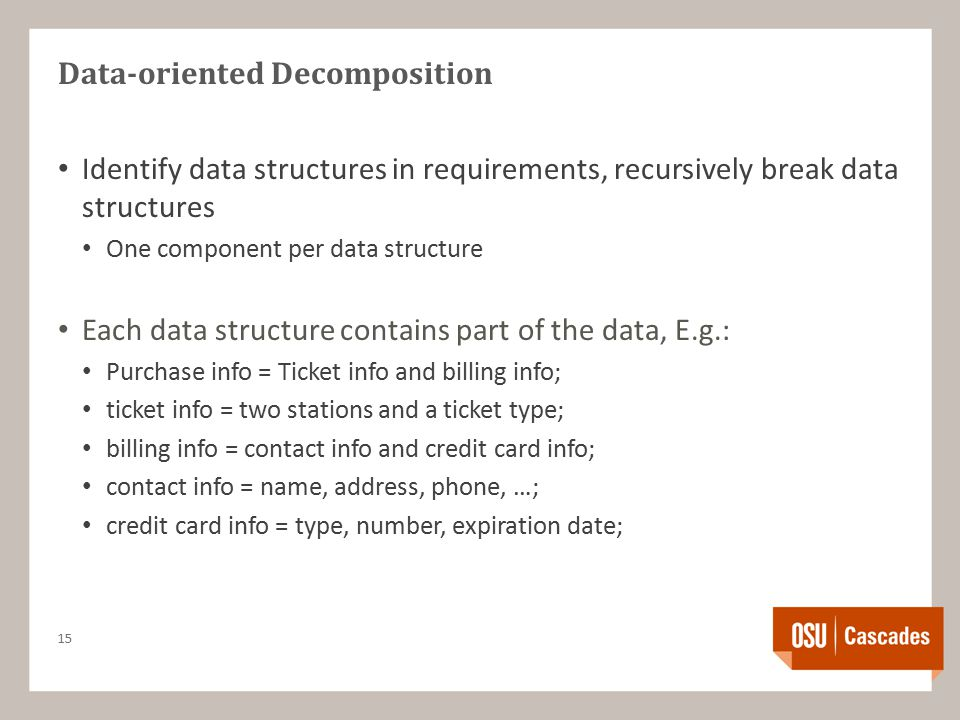 Data-oriented Decomposition Identify data structures in requirements, recursively break data structures One component per data structure Each data structure contains part of the data, E.g.: Purchase info = Ticket info and billing info; ticket info = two stations and a ticket type; billing info = contact info and credit card info; contact info = name, address, phone, …; credit card info = type, number, expiration date; 15