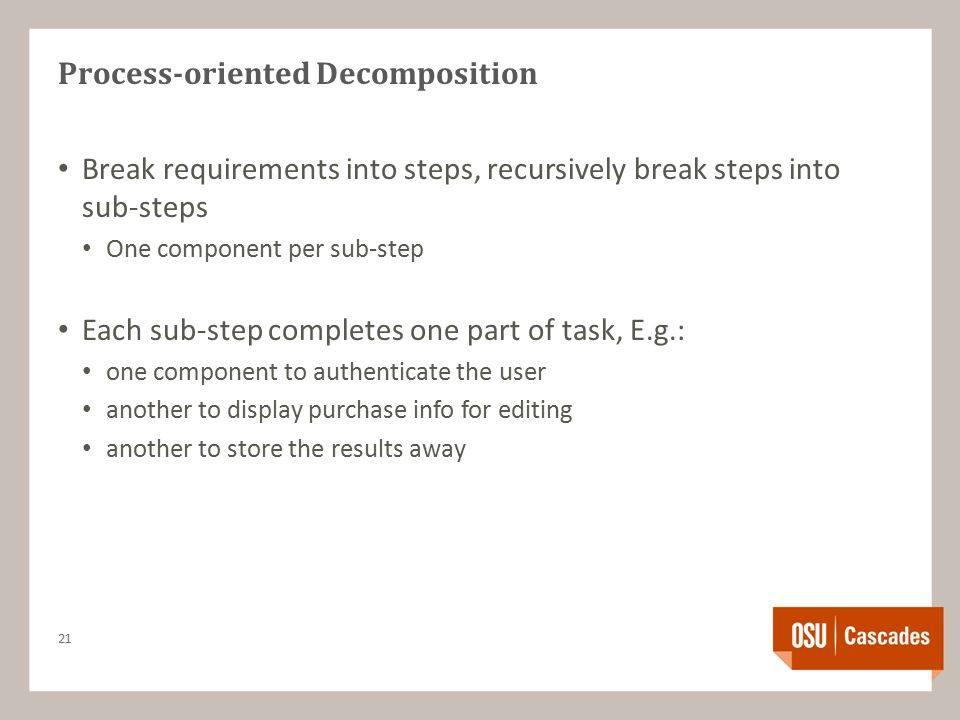 Process-oriented Decomposition Break requirements into steps, recursively break steps into sub-steps One component per sub-step Each sub-step completes one part of task, E.g.: one component to authenticate the user another to display purchase info for editing another to store the results away 21