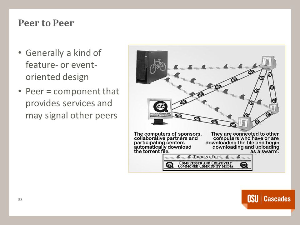 Peer to Peer Generally a kind of feature- or event- oriented design Peer = component that provides services and may signal other peers 33