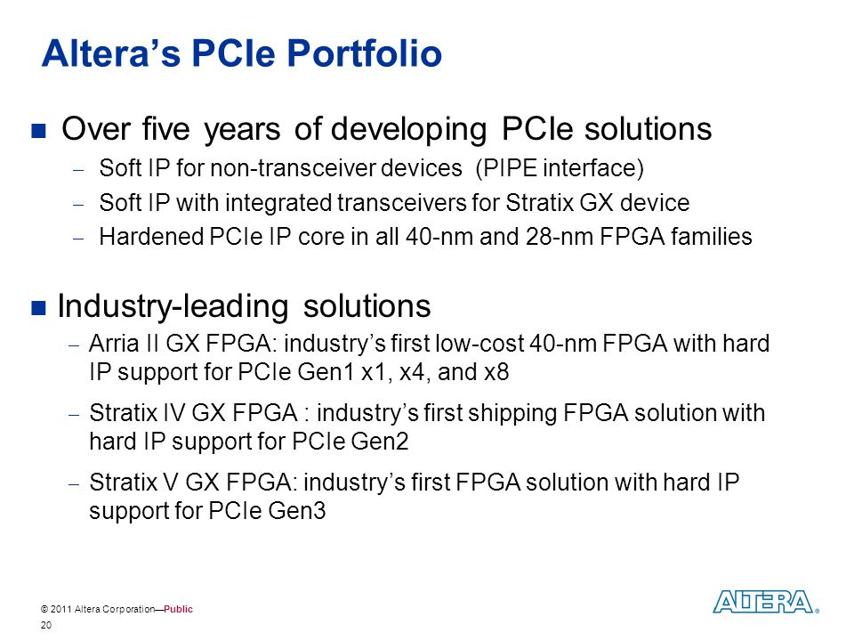 © 2011 Altera Corporation—Public Altera's PCIe Portfolio Over five years of developing PCIe solutions  Soft IP for non-transceiver devices (PIPE inte