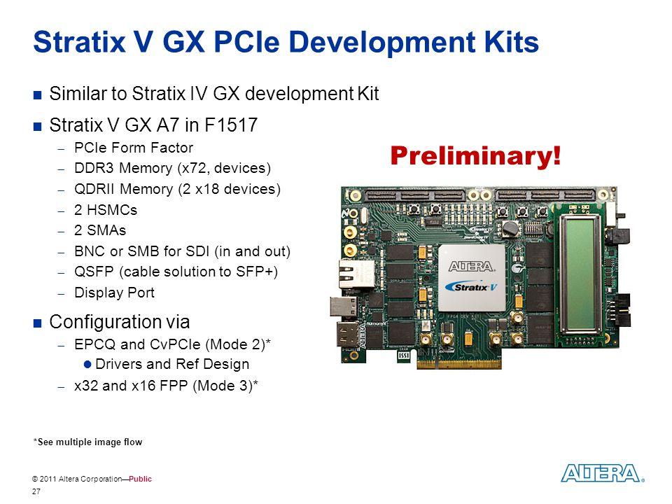 © 2011 Altera Corporation—Public Stratix V GX PCIe Development Kits Similar to Stratix IV GX development Kit Stratix V GX A7 in F1517  PCIe Form Fact