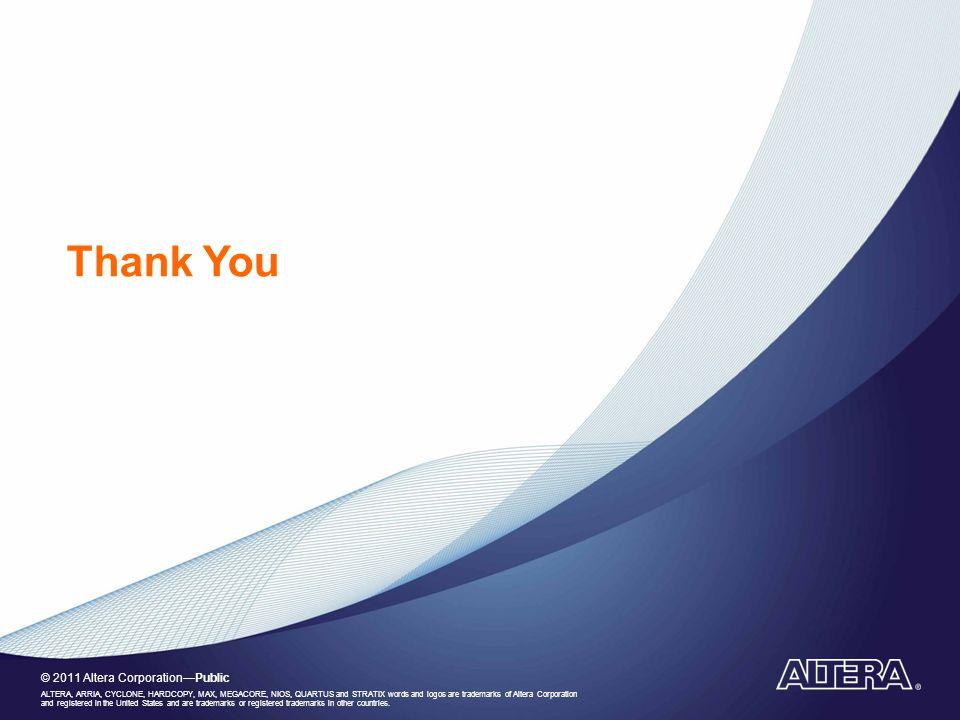 © 2011 Altera Corporation—Public ALTERA, ARRIA, CYCLONE, HARDCOPY, MAX, MEGACORE, NIOS, QUARTUS and STRATIX words and logos are trademarks of Altera C