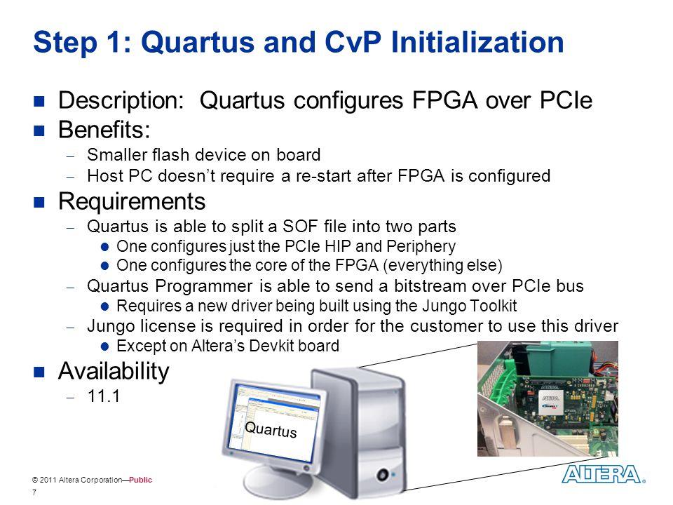 © 2011 Altera Corporation—Public Step 1: Quartus and CvP Initialization Description: Quartus configures FPGA over PCIe Benefits:  Smaller flash devic