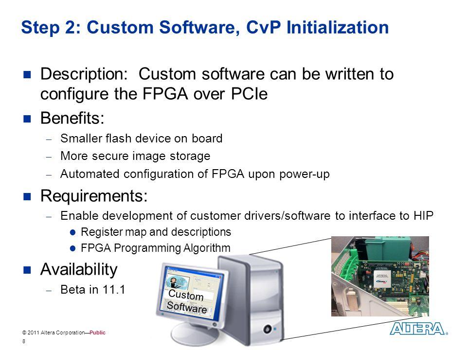 © 2011 Altera Corporation—Public Step 2: Custom Software, CvP Initialization Description: Custom software can be written to configure the FPGA over PC
