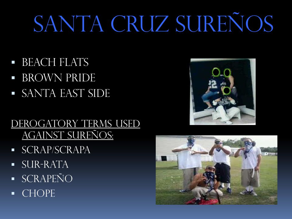 Santa Cruz Sureños  Beach Flats  Brown Pride  Santa East Side Derogatory terms used against Sureños:  Scrap/scrapa  Sur-rata  Scrapeño  Chope