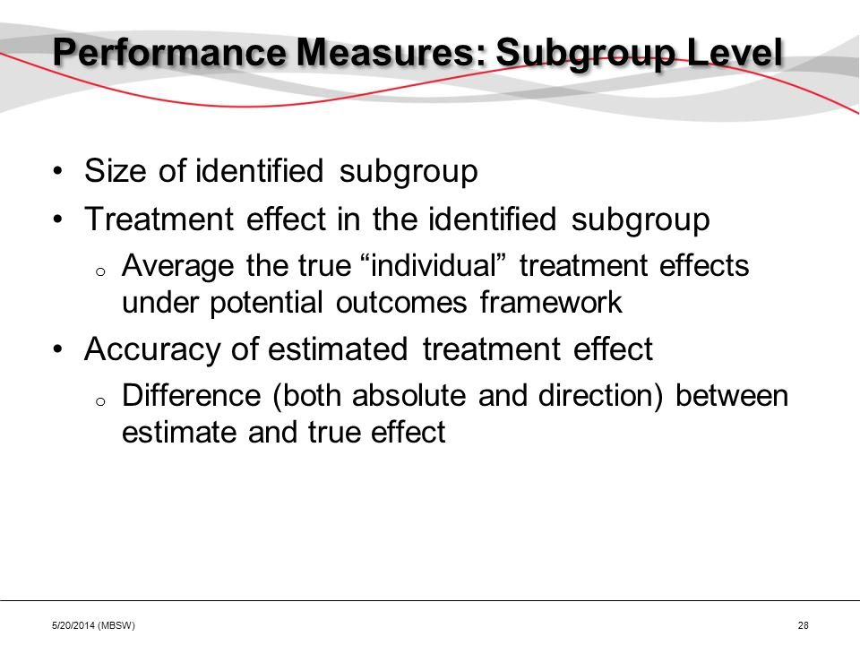 Performance Measures: Subgroup Level Size of identified subgroup Treatment effect in the identified subgroup o Average the true individual treatment effects under potential outcomes framework Accuracy of estimated treatment effect o Difference (both absolute and direction) between estimate and true effect 5/20/2014 (MBSW) 28