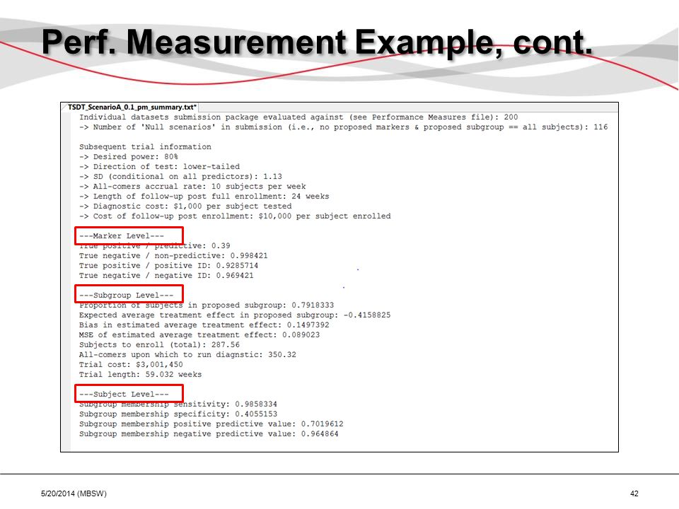 Perf. Measurement Example, cont. 5/20/2014 (MBSW) 42