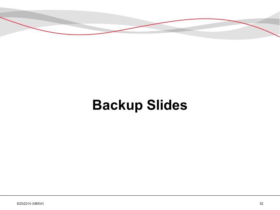 Backup Slides 5/20/2014 (MBSW) 52