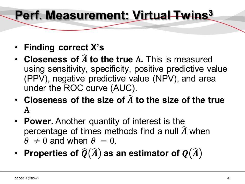 Perf. Measurement: Virtual Twins 3 5/20/2014 (MBSW) 61
