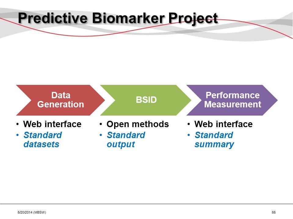 Predictive Biomarker Project Data Generation Web interface Standard datasets BSID Open methods Standard output Performance Measurement Web interface Standard summary 5/20/2014 (MBSW) 65