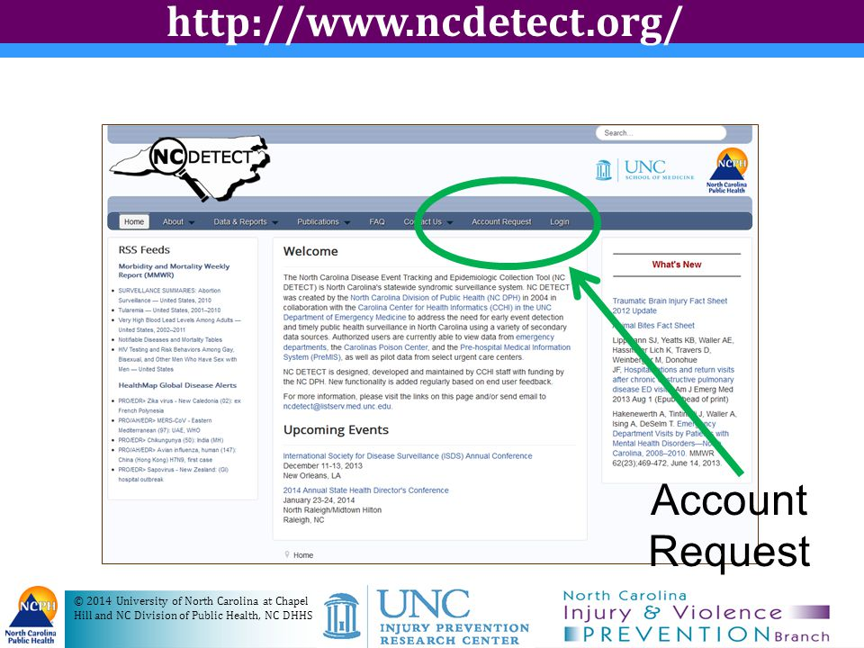 NC DETECT Training Contact Jenna Waggoner or Amy Ising for customized Web-based or in-person training –jenna.waggoner@dhhs.nc.govjenna.waggoner@dhhs.nc.gov –ising@ad.unc.edu (919) 966-8853ising@ad.unc.edu NC DETECT User Guide available online Help icon on dashboard reports © 2014 University of North Carolina at Chapel Hill and NC Division of Public Health, NC DHHS