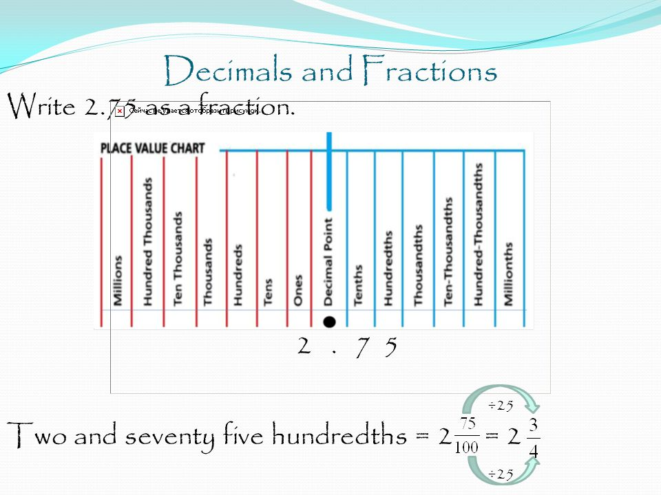 Decimals and Fractions Write 2.75 as a fraction. 2. 7 5 ÷25 Two and seventy five hundredths = 2 = 2 ÷25