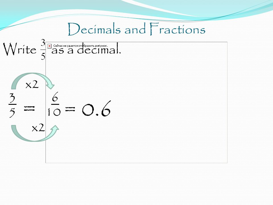 Decimals and Fractions Write as a decimal. x2 3 6 5 = 10 = 0.6 x2