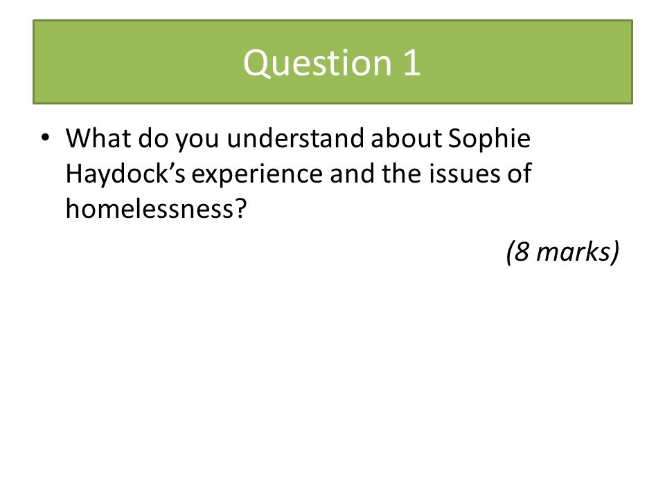 Question 1 What do you understand about Sophie Haydock's experience and the issues of homelessness? (8 marks)