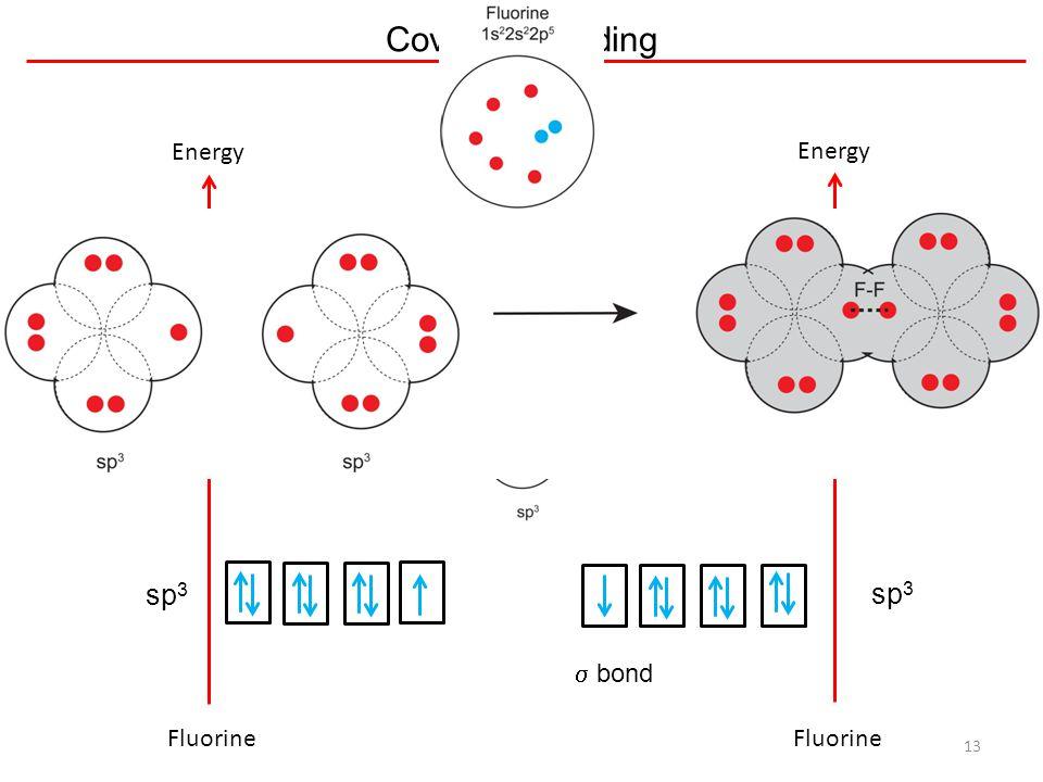 Covalent Bonding 13 Energy sp 3 Energy sp 3  bond Fluorine