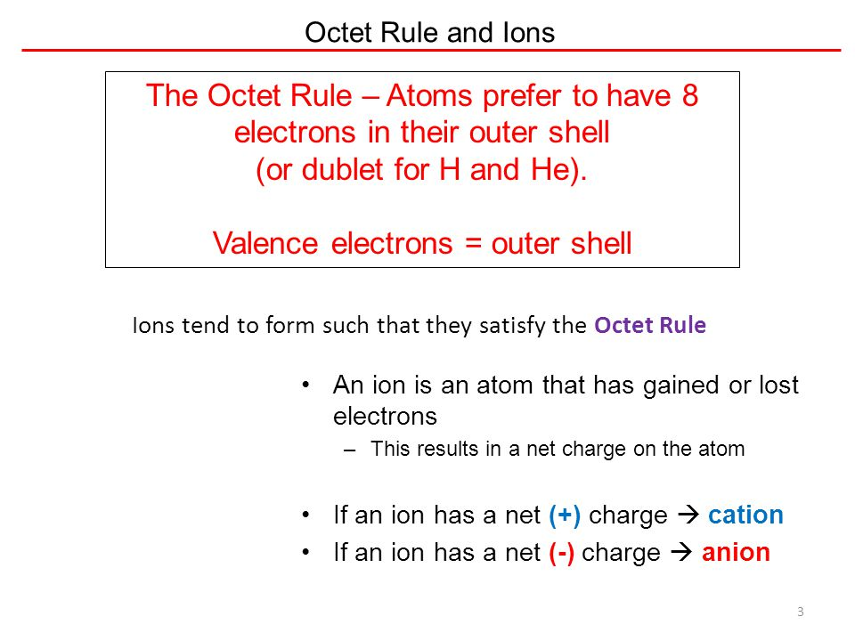 Octet Rule and Ions 3 An ion is an atom that has gained or lost electrons –This results in a net charge on the atom If an ion has a net (+) charge  c