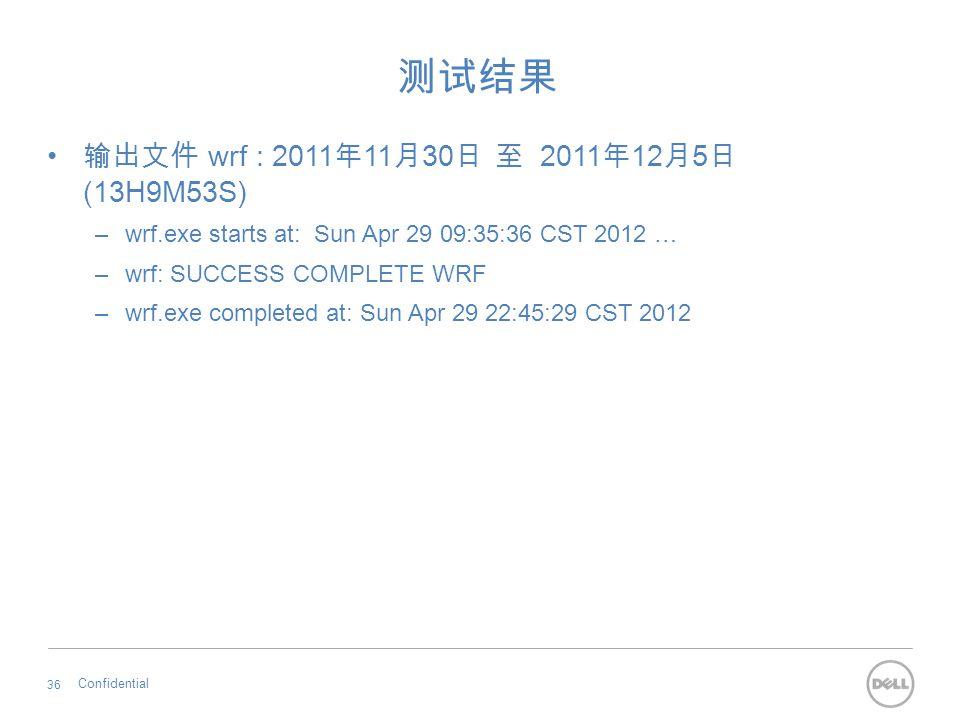 测试结果 输出文件 wrf : 2011 年 11 月 30 日 至 2011 年 12 月 5 日 (13H9M53S) –wrf.exe starts at: Sun Apr 29 09:35:36 CST 2012 … –wrf: SUCCESS COMPLETE WRF –wrf.exe c