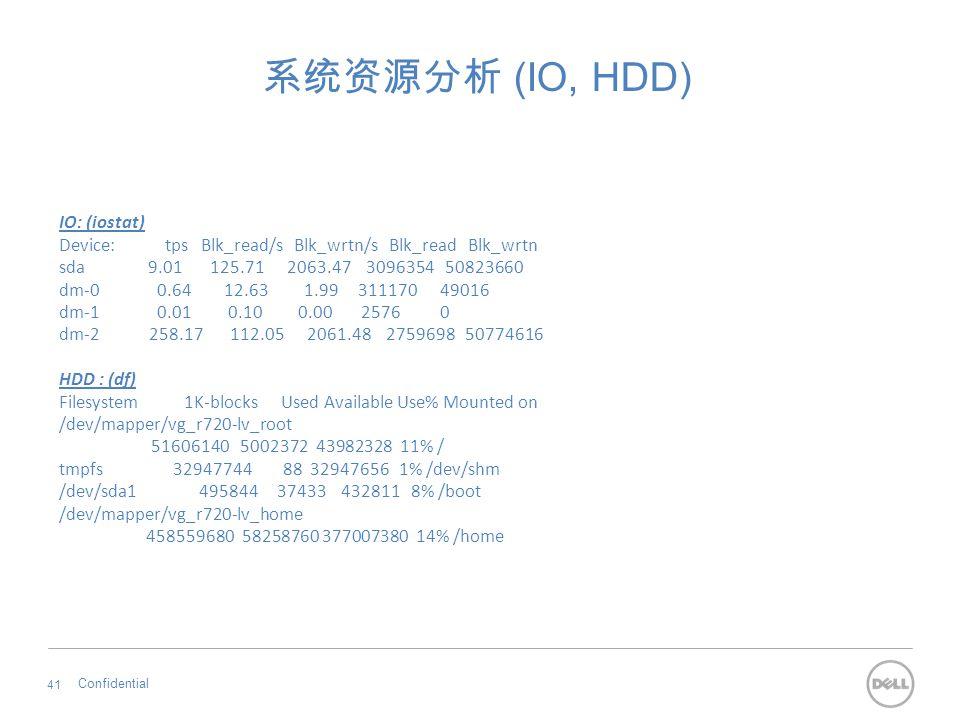 系统资源分析 (IO, HDD) Confidential 41 IO: (iostat) Device: tps Blk_read/s Blk_wrtn/s Blk_read Blk_wrtn sda 9.01 125.71 2063.47 3096354 50823660 dm-0 0.64 1