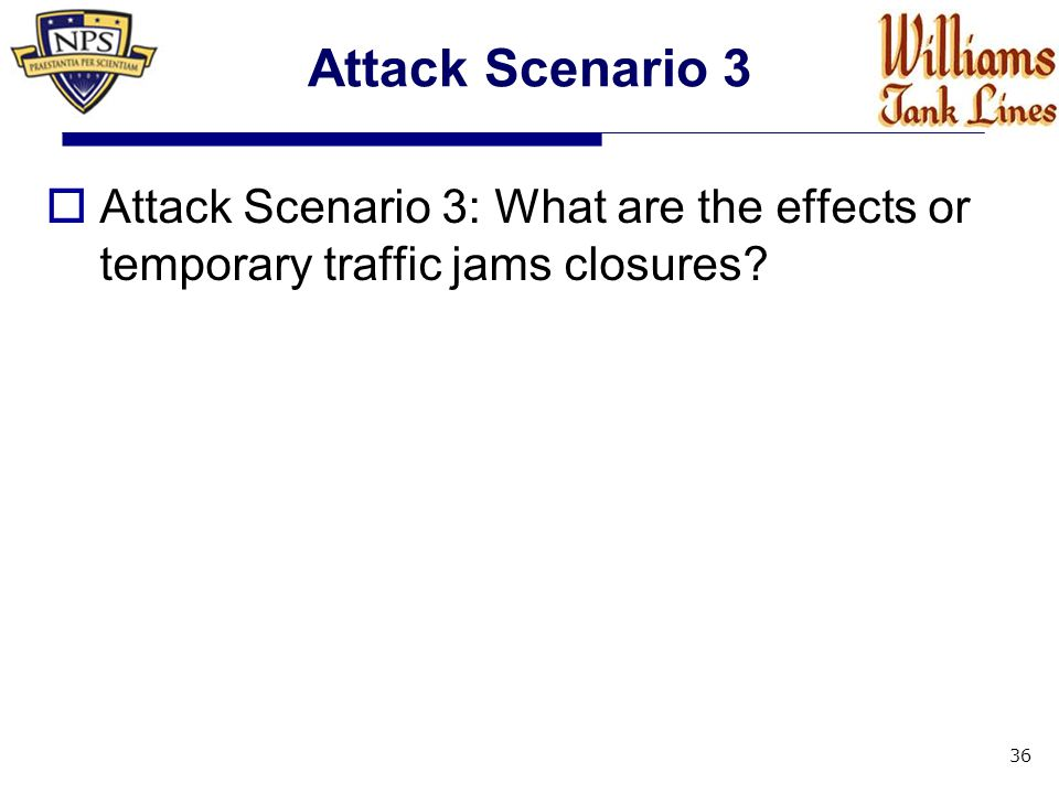 Attack Scenario 3  Attack Scenario 3: What are the effects or temporary traffic jams closures? 36