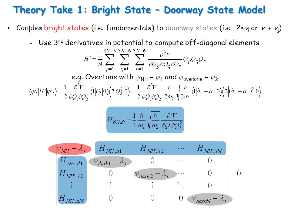 Theory Take 1: Bright State – Doorway State Model Couples bright states (i.e.