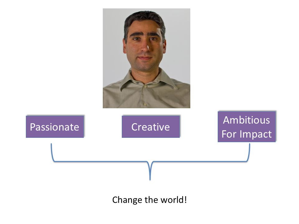 Passionate Creative Ambitious For Impact Change the world!