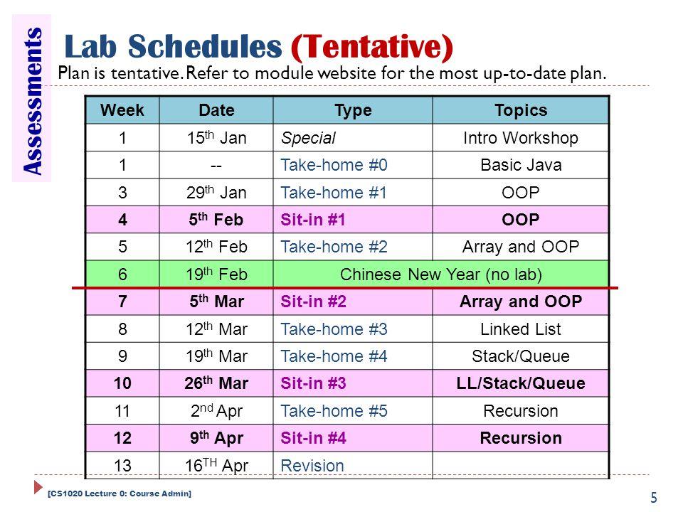 WeekDateTypeTopics 115 th JanSpecialIntro Workshop 1--Take-home #0Basic Java 329 th JanTake-home #1OOP 45 th FebSit-in #1OOP 512 th FebTake-home #2Arr