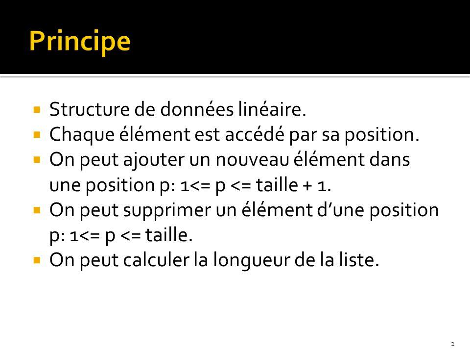  Structure de données linéaire.  Chaque élément est accédé par sa position.
