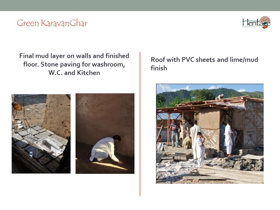 Green KaravanGhar Final mud layer on walls and finished floor.