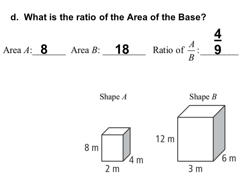 d. What is the ratio of the Area of the Base? 818 4949