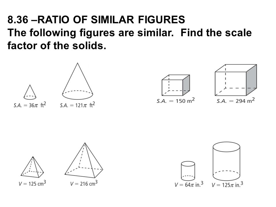 8.36 –RATIO OF SIMILAR FIGURES The following figures are similar. Find the scale factor of the solids.