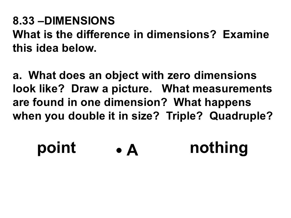 8.33 –DIMENSIONS What is the difference in dimensions? Examine this idea below. a. What does an object with zero dimensions look like? Draw a picture.