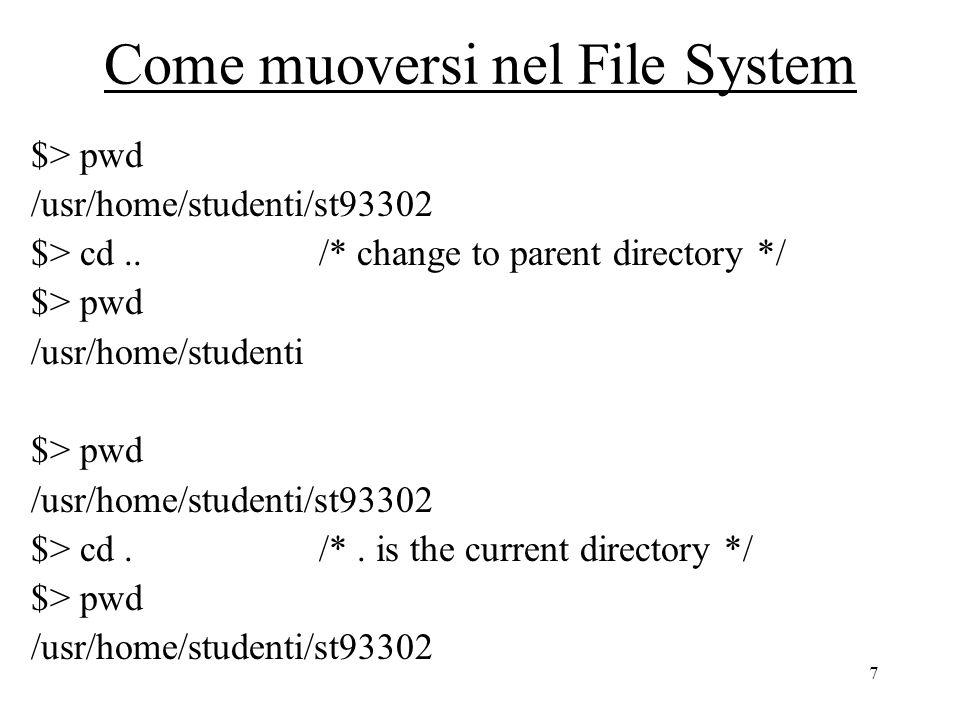 8 Manipolazione dei file $> ls/* list current directory */ pippoplutoprogram.c $> ls /usr/home/* list specified directory */ docentistudentitecnicitesisti /usr/home/studenti $> ls -l/* list protections, owner and size */ -rw-r--r--st30221 lab01 125 Nov 12 13:15 pippo.c -r-xr-xr-xst30221 lab01 670 Nov 11 10:10 pluto.c