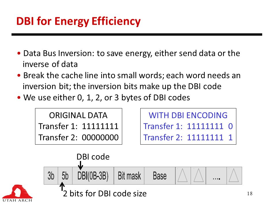 18 DBI for Energy Efficiency Data Bus Inversion: to save energy, either send data or the inverse of data Break the cache line into small words; each w