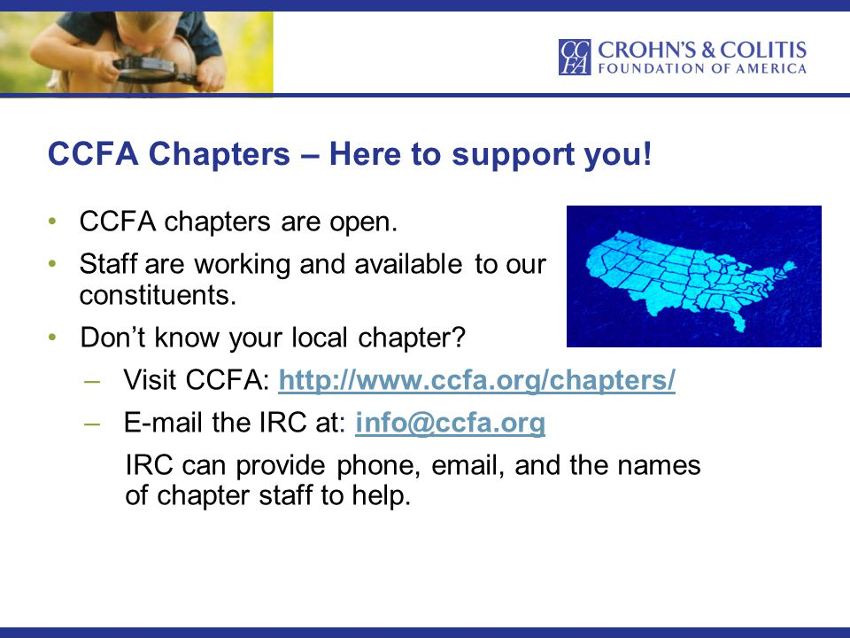 CCFA Chapters – Here to support you. CCFA chapters are open.