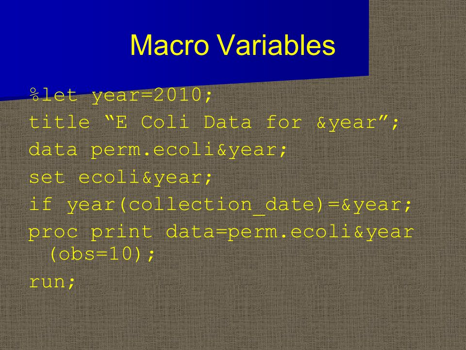 "Macro Variables %let year=2010; title ""E Coli Data for &year""; data perm.ecoli&year; set ecoli&year; if year(collection_date)=&year; proc print data=p"