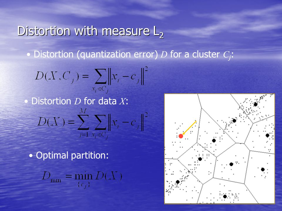 Distortion with measure L 2  Distortion (quantization error) D for a cluster C j : Distortion D for data X : Optimal partition: