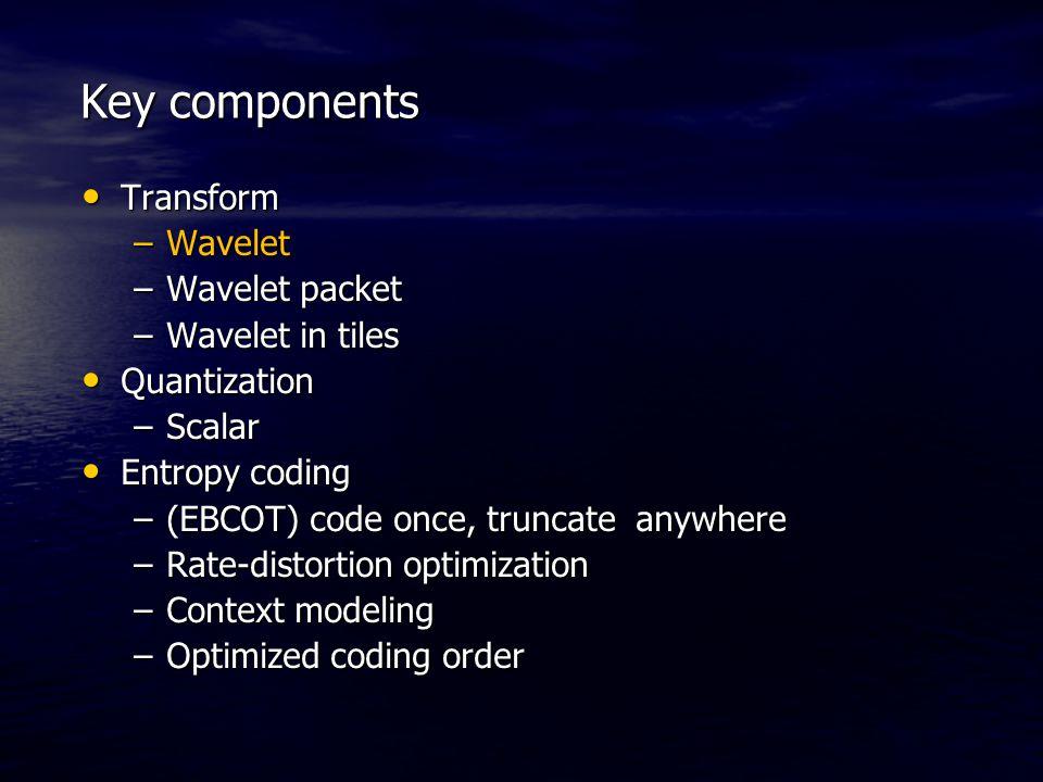 Key components Transform Transform –Wavelet –Wavelet packet –Wavelet in tiles Quantization Quantization –Scalar Entropy coding Entropy coding –(EBCOT)