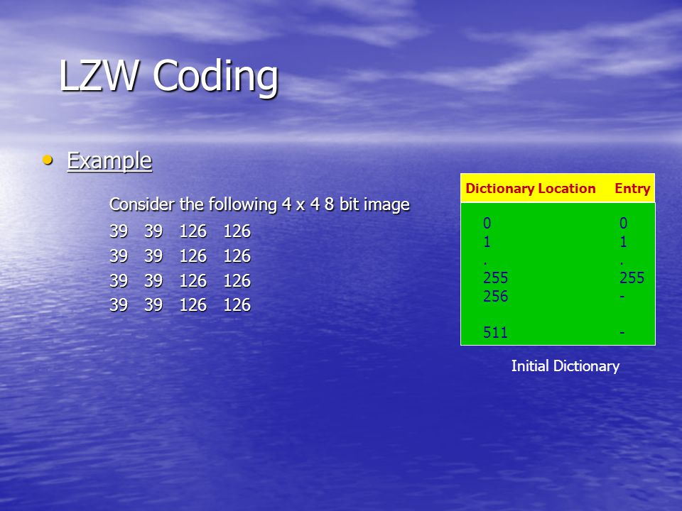 LZW Coding 39 39 126 126 Is 39 in the dictionary……..Yes What about 39-39………….No Then add 39-39 in entry 256 And output the last recognized symbol…39 Dictionary Location Entry 01.255 256- 511- 39-39