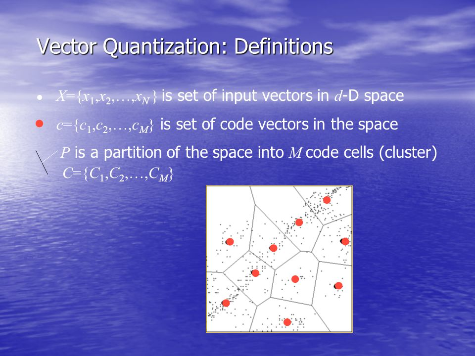 Vector Quantization: Definitions           X={x 1,x 2,…,x N } is set of input vectors in d -D space c={c 1,c 2,…,c M } is set of code vector