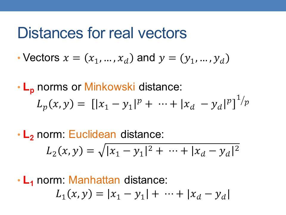 Distances for real vectors
