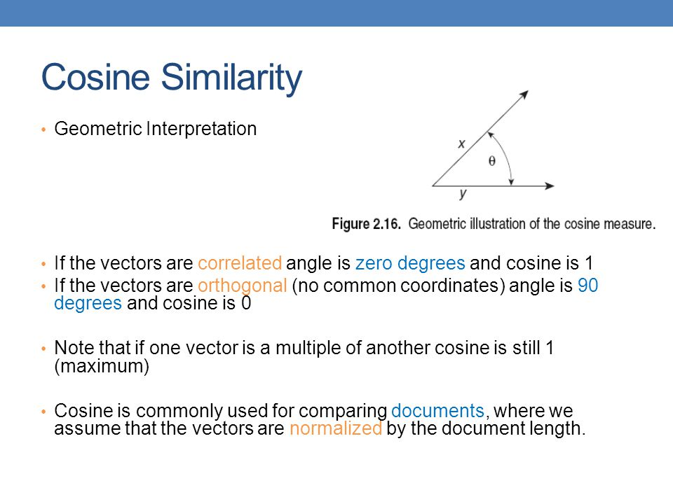 Cosine Similarity Geometric Interpretation If the vectors are correlated angle is zero degrees and cosine is 1 If the vectors are orthogonal (no commo