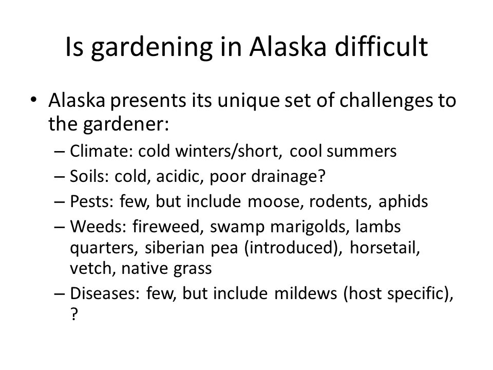 Is gardening in Alaska difficult Alaska presents its unique set of challenges to the gardener: – Climate: cold winters/short, cool summers – Soils: co