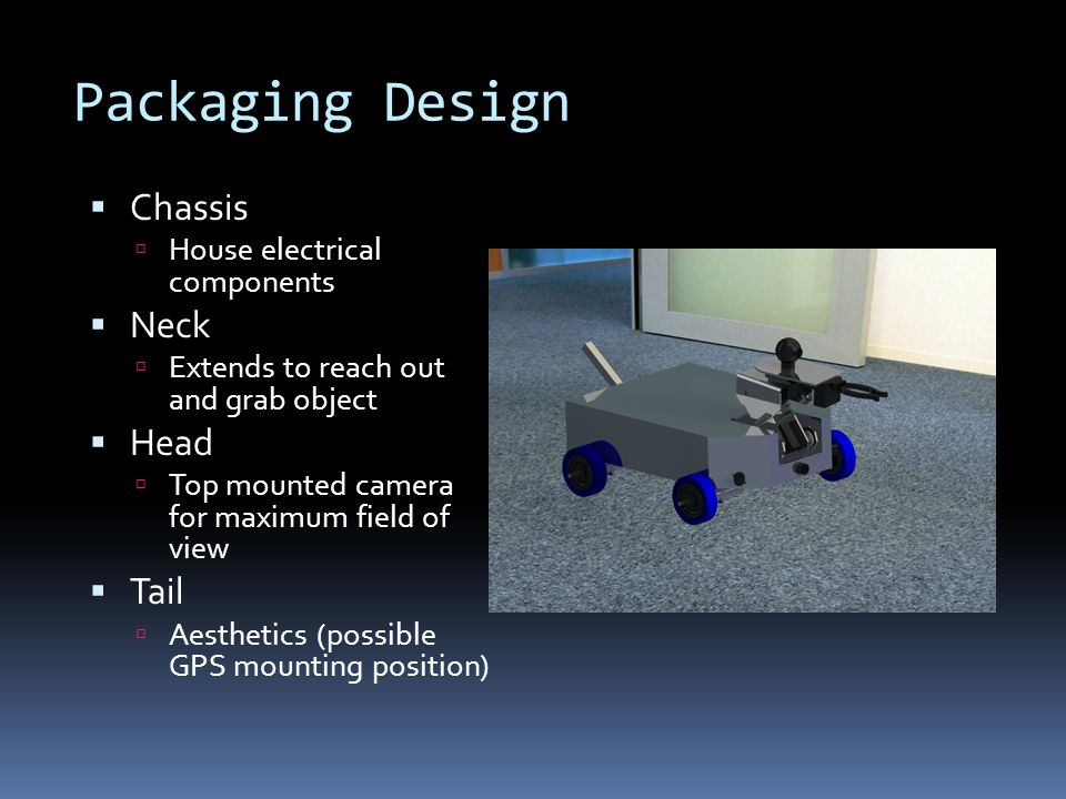 Packaging Design  Chassis  House electrical components  Neck  Extends to reach out and grab object  Head  Top mounted camera for maximum field of view  Tail  Aesthetics (possible GPS mounting position)