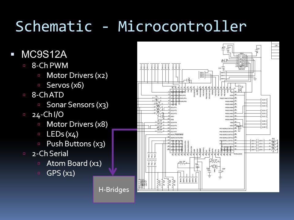 Schematic - Microcontroller H-Bridges  MC9S12A  8-Ch PWM  Motor Drivers (x2)  Servos (x6)  8-Ch ATD  Sonar Sensors (x3)  24-Ch I/O  Motor Drivers (x8)  LEDs (x4)  Push Buttons (x3)  2-Ch Serial  Atom Board (x1)  GPS (x1)