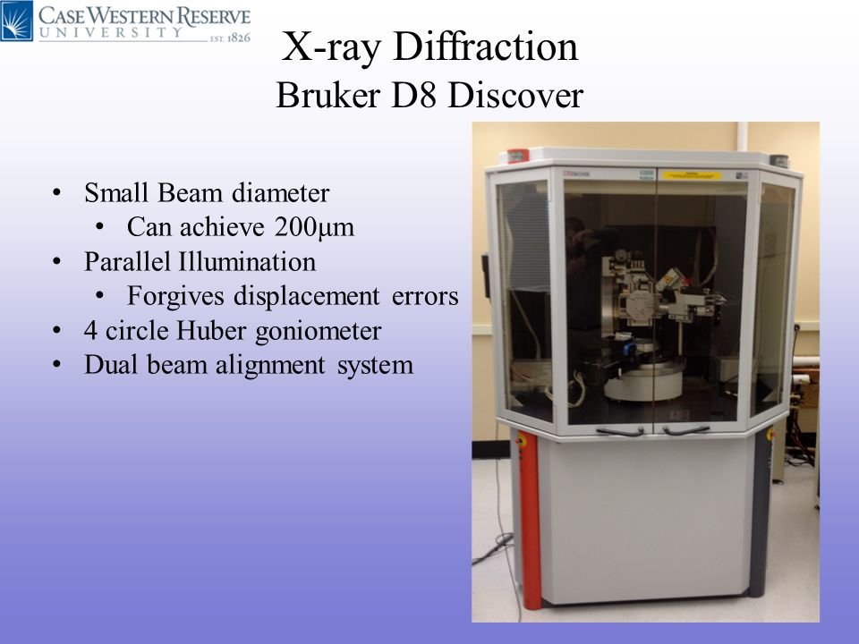 Small Beam diameter Can achieve 200μm Parallel Illumination Forgives displacement errors 4 circle Huber goniometer Dual beam alignment system X-ray Di