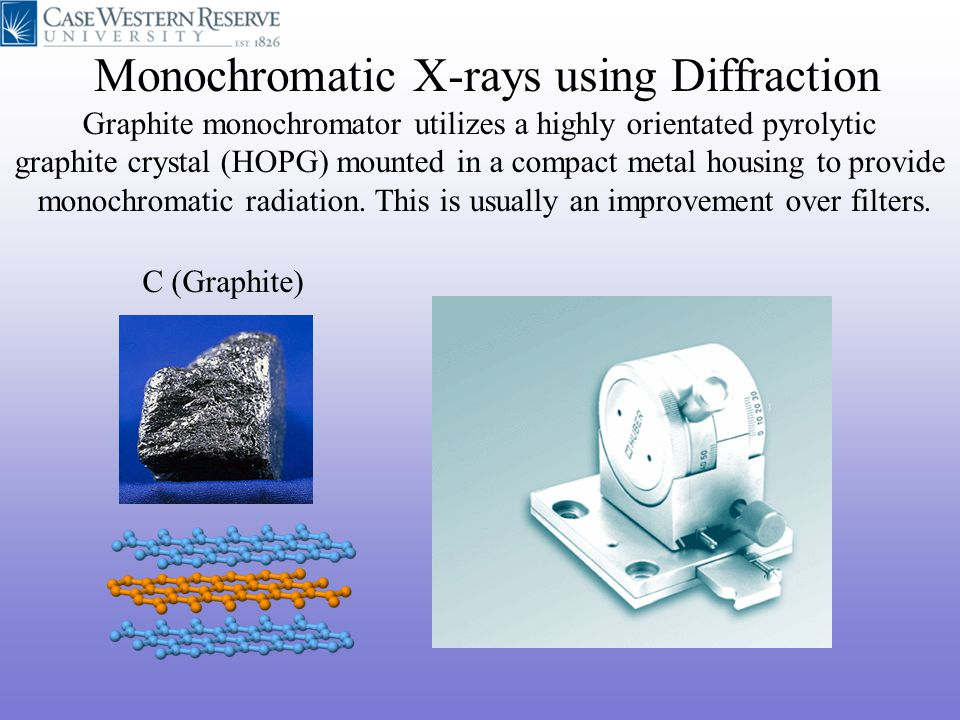 Monochromatic X-rays using Diffraction C (Graphite) Graphite monochromator utilizes a highly orientated pyrolytic graphite crystal (HOPG) mounted in a