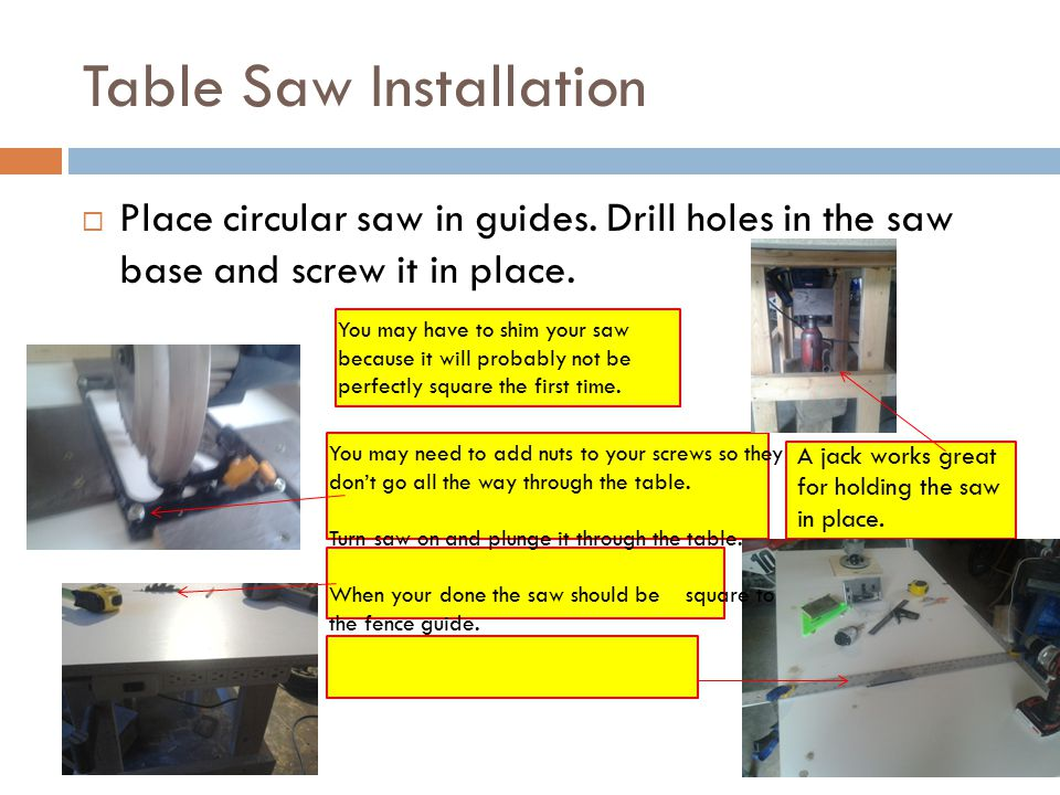 Table Saw Installation  Place circular saw in guides.