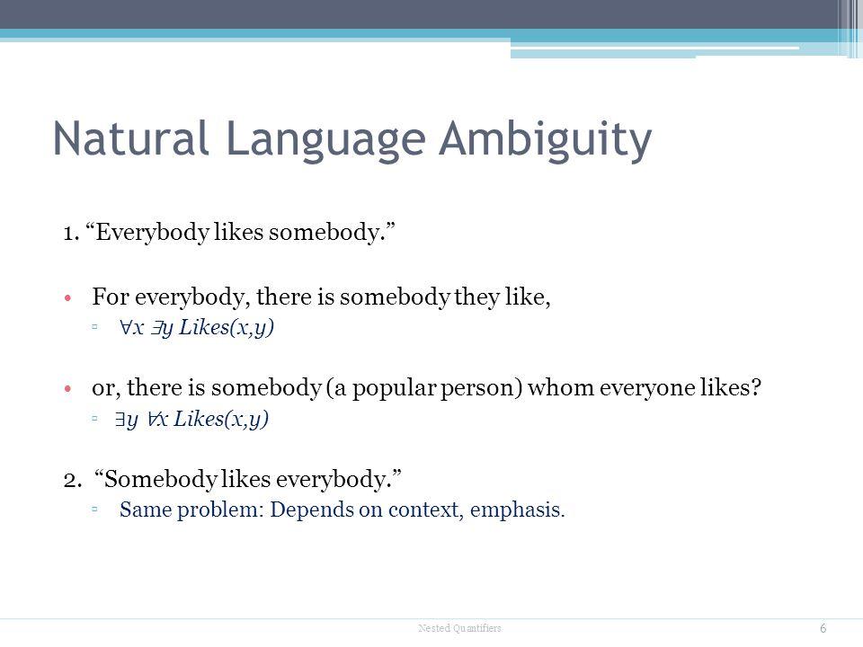 "Natural Language Ambiguity 1. ""Everybody likes somebody."" For everybody, there is somebody they like, ▫ ∀ x ∃ y Likes(x,y) or, there is somebody (a po"