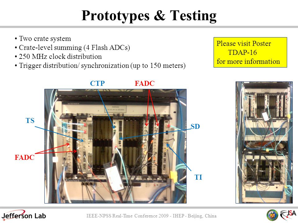 Prototypes & Testing IEEE-NPSS Real-Time Conference 2009 - IHEP - Beijing, China SD TI CTPFADC TS FADC Two crate system Crate-level summing (4 Flash ADCs) 250 MHz clock distribution Trigger distribution/ synchronization (up to 150 meters) Please visit Poster TDAP-16 for more information
