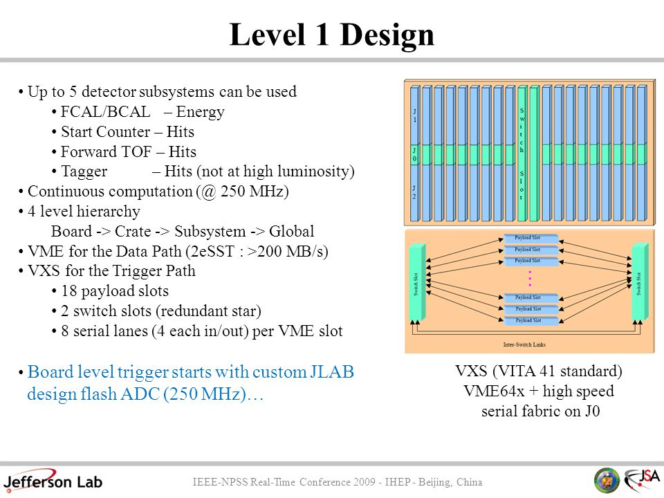 Level 1 Design IEEE-NPSS Real-Time Conference 2009 - IHEP - Beijing, China Up to 5 detector subsystems can be used FCAL/BCAL – Energy Start Counter – Hits Forward TOF – Hits Tagger – Hits (not at high luminosity) Continuous computation (@ 250 MHz) 4 level hierarchy Board -> Crate -> Subsystem -> Global VME for the Data Path (2eSST : >200 MB/s) VXS for the Trigger Path 18 payload slots 2 switch slots (redundant star) 8 serial lanes (4 each in/out) per VME slot Board level trigger starts with custom JLAB design flash ADC (250 MHz)… VXS (VITA 41 standard) VME64x + high speed serial fabric on J0